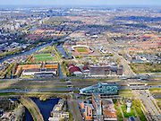Nederland, Noord-Holland, Amsterdam; 17-04-2021; Amstelveenseweg met Verdi in aanbouw, zicht op IJsbaanpad, Sporthalen-Zuid, Olympisch Stadion.<br /> Amstelveenseweg with Verdi under construction, view on IJsbaanpad, Sporthalen-Zuid, Olympic Stadium.<br /> <br /> luchtfoto (toeslag op standaard tarieven);<br /> aerial photo (additional fee required)<br /> copyright © 2021 foto/photo Siebe Swart.