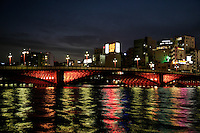 Azuma Bridge at Asakusa, crossing over the Sumida River.  Tokyo's 12 Sumida River bridges are now illuminated in hopes of making the city more attractive ahead of the city's bid for the 2016 Olympics.