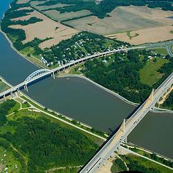 Aerial views of the St. George's Bridges ad William V Roth Jr. Bridge, delaware