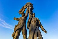 heroes statues under The Peoples' Friendship Arch in Mariinsky Park Landmark of Kiev Ukraine Europe