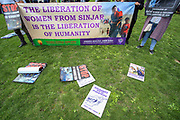 Members of the Kurdish community in Britain are gathered outside the Houses of Parliament in central London on Wednesday, Aug 18, 2021 -  to protest against a Turkish airstrike in a Hospital in Sinjar. At least 18 armed men from the Kurdistan Workers' Party (PKK) were killed on Tuesday in an airstrike by a drone near the town of Sinjar in northern Iraq, a Kurdish security source said. (VX Photo/ Vudi Xhymshiti)