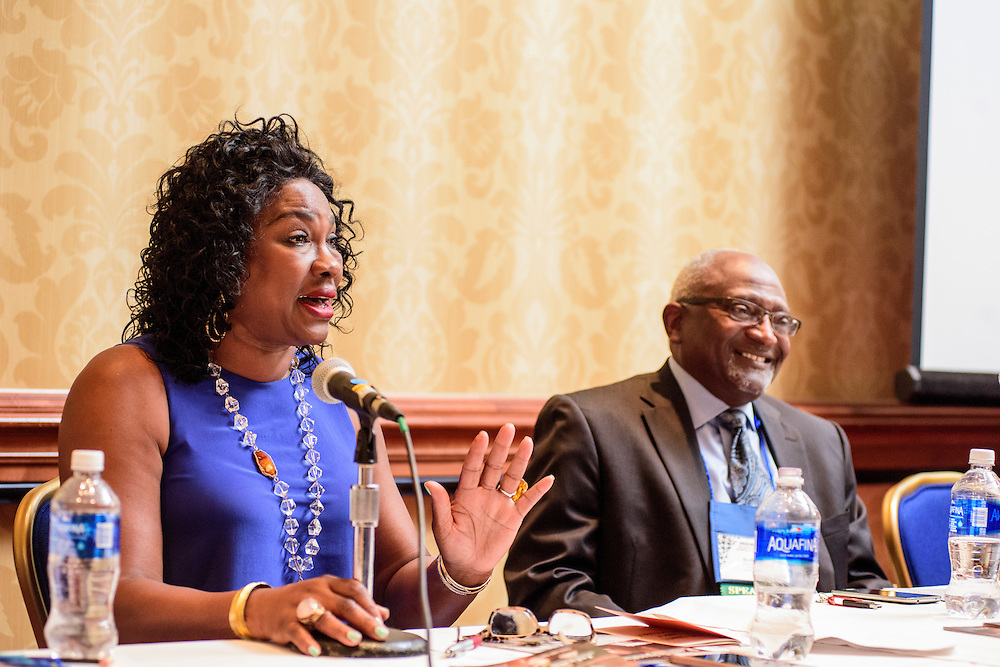 """Washington, D.C. - August 05, 2016: Panelists Dr. Beverly Wright, Executive director of Dillard University's Deep South Center for Environmental Justice, and Dr. Robert Bullard, Dean of the School of Public Affairs at Texas Southern University, answer audience questions at the Earthjustice hosted """"Environmental Justice 101"""" event during the National Association of Black Journalists/National Association of Hispanic Journalists event Friday Aug. 5., 2016 from 2:45-4:15 pm at the Washington Marriott Wardman Park. <br /> <br /> <br /> Panelists are: Moderator, Darryl D. Fears, Reporter, The Washington Post, Martha Dina Arguello, Executive Director of Physicians for Social Responsibility, Dr. Beverly Wright, Executive director of Dillard University's Deep South Center for Environmental Justice, Dr. Robert Bullard, Dean of the School of Public Affairs at Texas Southern University, and Lisa Garcia, Vice President of Healthy Communities at Earthjustice.<br /> <br /> CREDIT: Matt Roth"""