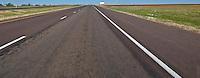 blank billboard along rural I-20 in flat west Texas panorama