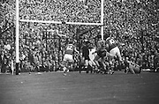 All Ireland Senior Football Championship Final, Kerry v Down, 22.09.1968, 09.22.1968, 22nd September 1968, Down 2-12 Kerry 1-13, Referee M Loftus (Mayo)..Kerry forwards crowd the Down goalmouth near the end of the match but ball is saved by Down goal keeper ,