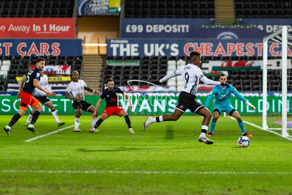 Swansea City's Jamal Lowe (9) closes in on goal during the EFL Sky Bet Championship match between Swansea City and Luton Town at the Liberty Stadium, Swansea, Wales on 5 December 2020.