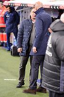 Real Madrid's coach Zinedine Zidane and Real Sociedad's coach Eusebio Sacristan Mena during La Liga match between Real Madrid and Real Sociedad at Santiago Bernabeu Stadium in Madrid, Spain. January 29, 2017. (ALTERPHOTOS/BorjaB.Hojas)