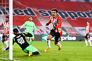 Donyell Malen of PSV Eindhoven celebrates after scoring his sides first goal during the UEFA Europa League, Group E football match between PSV and Omonia Nicosia on December 10, 2020 at Philips Stadion in Eindhoven, Netherlands - Photo Perry vd Leuvert / Orange Pictures / ProSportsImages / DPPI
