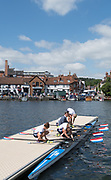 Henley-on-Thames. United Kingdom.  Hollandia Roeiclub Women's Quad boating. NED W4X.  2017 Henley Royal Regatta, Henley Reach, River Thames. <br /> <br /> <br /> 11:27:26  Sunday  02/07/2017   <br /> <br /> [Mandatory Credit. Peter SPURRIER/Intersport Images.