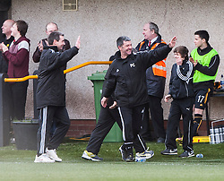 Alloa Athletic's manager Barry Smith after Kevin Cawley (7) cele scoring their second goal.<br /> Alloa Athletic 3 v 0 Falkirk, Scottish Championship game played today at Alloa Athletic's home ground, Recreation Park.<br /> © Michael Schofield.