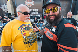 Dave Perewitz and and MC Dano Legere at the Harley-Davidson Editors Choice Custom Bike Show during the annual Sturgis Black Hills Motorcycle Rally. SD, USA. August 9, 2016. Photography ©2016 Michael Lichter.