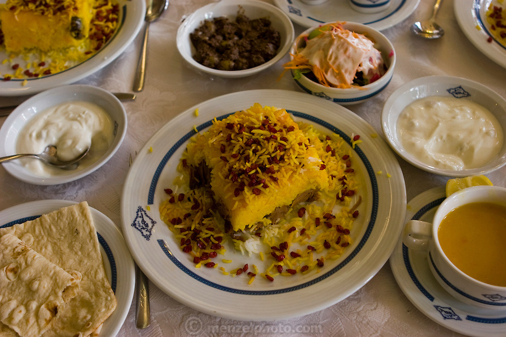 A meal at the Shahzad Restaurant in the city of Isfahan, Iran.