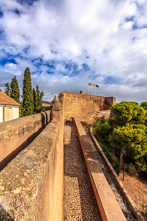 The old Muslim castle  Gibralfaro in Malaga, Spain. Gibralfaro has been the site of fortifications since the 14th century when Yusuf I of the Kingdom of Granada constructed it.