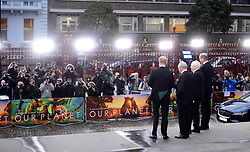 The Duke of Sussex, the Duke of Cambridge, the Prince of Wales and Sir David Attenbrough attending the global premiere of Netflix's Our Planet, held at the Natural History Museum, London.
