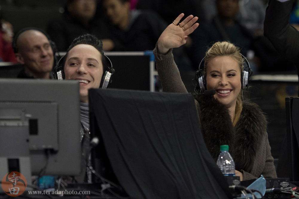 January 4, 2018; San Jose, CA, USA; NBC broadcasters Johnny Weir (left) and Tara Lipinski (right) in the mens short program during the 2018 U.S. Figure Skating Championships at SAP Center.