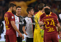 May 12, 2019 - Rome, Italy - Cristiano Ronaldo and Alessandro Florenzi argue during the Italian Serie A football match between A.S. Roma and Juventus at the Olympic Stadium in Rome, on may 12, 2019. (Credit Image: © Silvia Lore/NurPhoto via ZUMA Press)