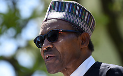 Nigerian President Muhammadu Buhari speaks at a joint press conference in the Rose Garden of the White House on April 30, 2018 in Washington, DC. Photo by Olivier Douliery/Abaca Press
