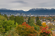 View of the Coast Range and Downtown Vancouver from Queen Elizabeth Park in Vancouver, British Columbia, Canada
