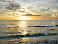 A golden November sunset over the Gulf of Mexico at Lido Beach, Sarasota, Florida, USA.
