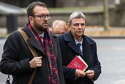 London, UK. 16 November, 2019. Dave Prentis (r), General Secretary of UNISON, arrives at Labour's Clause V meeting. The Clause V meeting, chaired by the party leader and attended by members of the National Executive Committee (NEC), relevant Shadow Cabinet members and members of the National Policy Forum, will finalise the party's general election manifesto. The meeting is named after Clause V of the Labour Party rulebook.