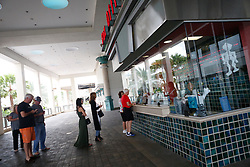 October 7, 2016 - Florida, U.S. - People line up to purchase movie tickets at Cobb Theatres at Downtown at the Gardens after the passing of Hurricane Matthew, October 7, 2016 in Palm Beach Gardens. (Credit Image: © Yuting Jiang/The Palm Beach Post via ZUMA Wire)