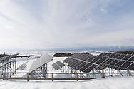 Solpanelerna i Aizu Powers anläggning, Oguni Power Plant, är uppsatta på höga ställningar eftersom området ofta får stora mängder snö. <br /> <br /> <br /> The Oguni solar power plant in Kitakata, Fukushima, Japan<br /> <br /> Photographer: Christina Sjögren<br /> <br /> Copyright 2018, All Rights Reserved<br /> <br /> <br /> The solar panels are put up on high scaffolding because this area is getting large amounts of snow in the winter time.