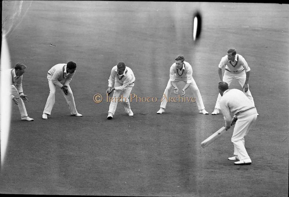 Ireland v. Leicester, Cricket at Sydney Parade..1963..07.07.1963..7th July 1963.  .Today Ireland played Leicester at cricket in the Pembroke Cricket Club grounds at Sydney Parade, Ballsbridge ,Dublin...Before the game began Leicester's fielders were put through their paces during catching practice.