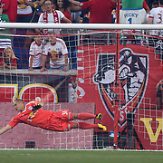 HARRISON, NEW JERSEY- AUGUST 25: Goalkeeper Luis Robles #31 of New York Red Bulls makes a save during the New York Red Bulls Vs New York City FC MLS regular season match at Red Bull Arena, Harrison, New Jersey on August 25, 2017 in Harrison, New Jersey. (Photo by Tim Clayton/Corbis via Getty Images)