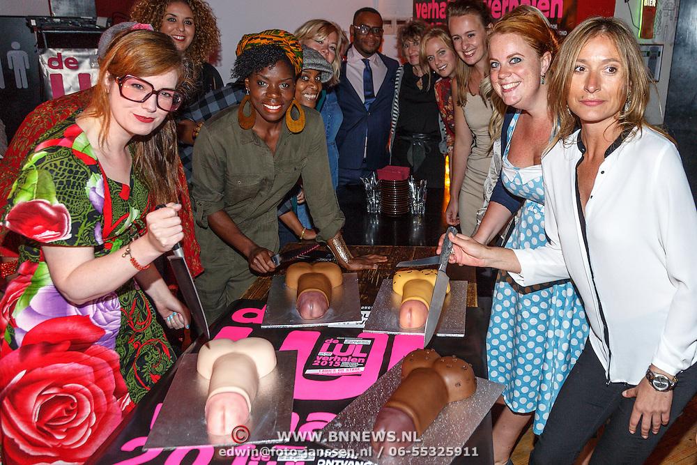 NLD/Amsterdam/20150901 - Perspresentatie LULverhalen 2015 dames editie, aansnijden taart met penissen