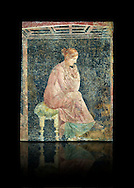 Roman fresco wall painting of a women thinking from the Villa Arianna (Adriana), Stabiae (Stabia) near Pompeii , inv 9097, Naples National Archaeological Museum , black background .<br /> <br /> If you prefer to buy from our ALAMY PHOTO LIBRARY  Collection visit : https://www.alamy.com/portfolio/paul-williams-funkystock - Scroll down and type - Roman Fresco Naples  - into LOWER search box. {TIP - Refine search by adding a background colour as well}.<br /> <br /> Visit our ROMAN ART & HISTORIC SITES PHOTO COLLECTIONS for more photos to download or buy as wall art prints https://funkystock.photoshelter.com/gallery-collection/The-Romans-Art-Artefacts-Antiquities-Historic-Sites-Pictures-Images/C0000r2uLJJo9_s0