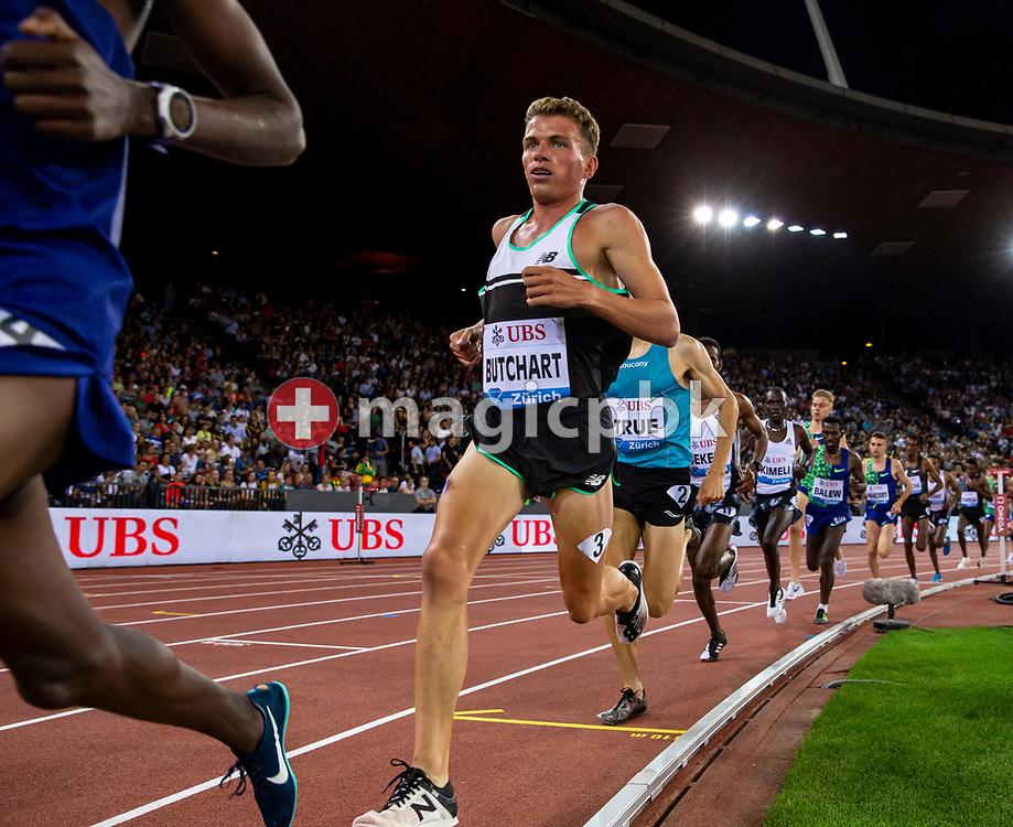 RyAndrew BUTCHART of Great Britain competes in the Men's 5000m during the Iaaf Diamond League meeting (Weltklasse Zuerich) at the Letzigrund Stadium in Zurich, Switzerland, Thursday, Aug. 29, 2019. (Photo by Patrick B. Kraemer / MAGICPBK)