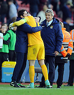Manchester City manager Manuel Pellegrini looks at Manchester City goalkeeper Joe Hart as he celebrates with coach<br /> - Barclays Premier League - Southampton vs Manchester City - St Mary's Stadium - Southampton - England - 30th November 2014 - Pic Robin Parker/Sportimage