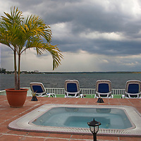 Central America, Cuba, Cienfuegos. Perla del Mar boutique hotel hot tub.