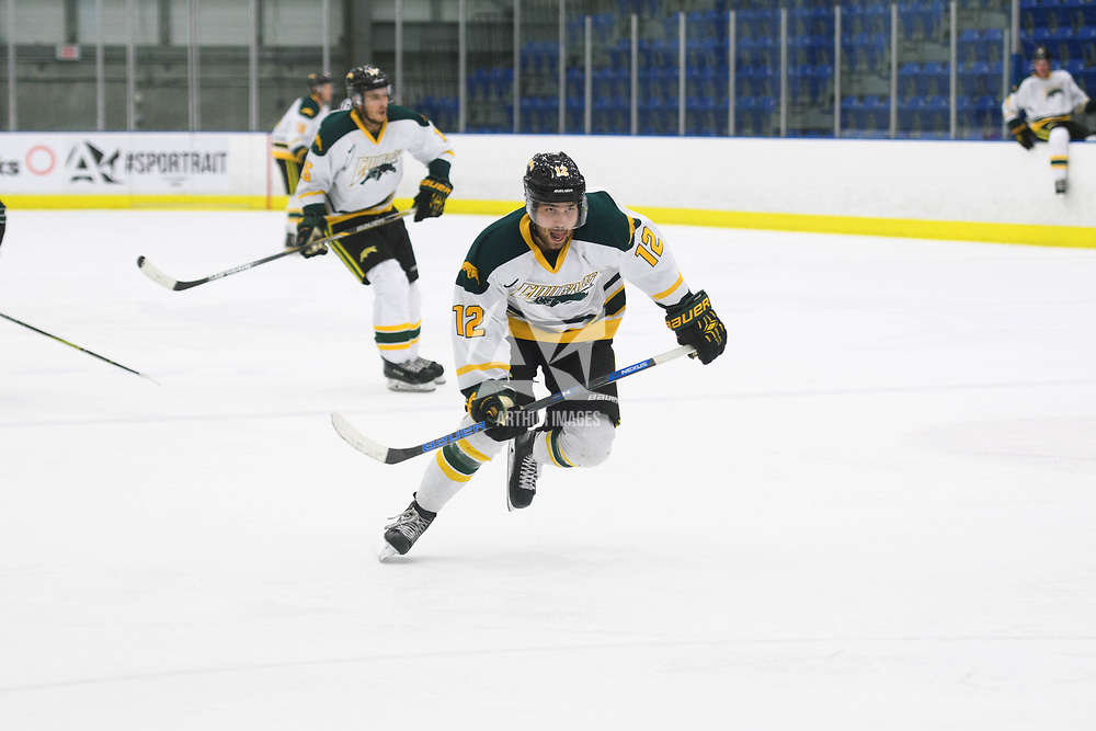 1st year forward Corwin Stevelyin action during the Men's Hockey Home Opener on October 6 at Co-operators arena. Credit: Arthur Ward/Arthur Images