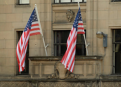 US flags in Glasgow which was transformed into New York City for filming of the TV show Melrose.