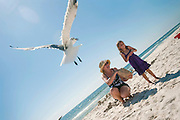 A grandmother and her 4 year old granddaughter feed a seagull popcorn on the beach in Fort Morgan, Alabama.
