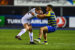 Paul Perez of Toulouse is tackled by Willis Halaholo of Cardiff Blues - Mandatory by-line: Craig Thomas/JMP - 14/01/2018 - RUGBY - BT Sport Cardiff Arms Park - Cardiff, Wales - Cardiff Blues v Toulouse - European Rugby Challenge Cup