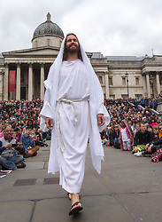 April 14, 2017 - London, London, United Kingdom - Image ©Licensed to i-Images Picture Agency. 14/04/2017. London, United Kingdom. 'The Passion of Jesus',London-14 March 2017. Picture by Mark Thomas / i-Images.James Burke-Dunmore plays Jesus in 'The Passion of Christ' in Trafalgar Square on Good Friday (Credit Image: © Mark Thomas/i-Images via ZUMA Press)