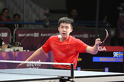 October 9, 2018 - Buenos Aires, Ciudad Autonoma de Buenos Aires, Argentina - After playing today in the Tecnopolis stadium the men's single table tennis quarterfinals, the 4 semifinalists are Tomokazu Harimoto (Japan), Lin Yun Ju (Taipei), Chuqin Wang (China) and Kanak Jha  (Credit Image: © Gustavo Pantano/Pacific Press via ZUMA Wire)