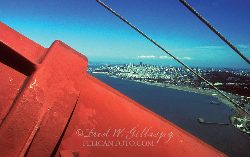 San Francisco Skyline from South Tower of The Golden Gate Bridge