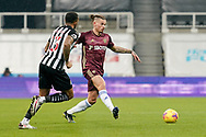Leeds United midfielder Kalvin Phillips (23) passes the ball during the Premier League match between Newcastle United and Leeds United at St. James's Park, Newcastle, England on 26 January 2021.