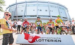 04.07.2017, Pöggstall, AUT, Ö-Tour, Österreich Radrundfahrt 2017, 2. Etappe von Wien nach Pöggstall (199,6km), im Bild Markus Eibegger (AUT, Team Felbermayr Simplon Wels), Elia Viviani (ITA, Nationale Italiana), Stephan Rabitsch (AUT, Team Felbermayr Simplon Wels), Sep Vanmarcke (BEL, Cannondale Drapac Professional Cycling Team) // during the 2nd stage from Vienna to Pöggstall (199,6km) of 2017 Tour of Austria. Pöggstall, Austria on 2017/07/04. EXPA Pictures © 2017, PhotoCredit: EXPA/ JFK