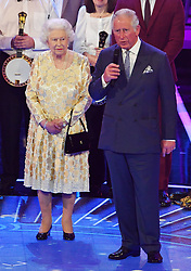 The Prince of Wales pays tribute to his mother Queen Elizabeth II at the Royal Albert Hall in London during a star-studded concert to celebrate the Queen's 92nd birthday.