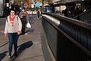 With local coronavirus lockdown measures in place and Birmingham currently set at 'Tier 2' or 'high', people, many of whom are wearing face masks walk along the quiet end of Corporation Street in the city centre on 26th October 2020 in Birmingham, United Kingdom. The three tier system in the UK has levels: 'medium', which includes the rule of six, 'high', which will cover most areas under current restrictions; and 'very high' for those areas with particularly high case numbers. Meanwhile there have been calls by politicians for a 'circuit breaker' complete lockdown to be announced to help the growing spread of the Covid-19 virus.