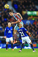 West Ham's Andy Carroll wins a header - Everton vs. West Ham United - Barclay's Premier League - Goodison Park - Liverpool - 22/11/2014 Pic Philip Oldham/Sportimage
