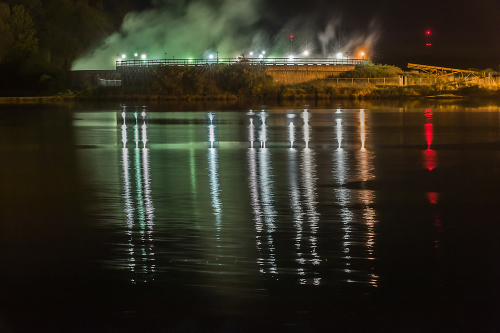 Effluent pond, night time, April, Nippon Paper Industries, Clallam County, Port Angeles, Washington, USA
