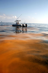 05 May 2010. Venice, Louisiana. Deepwater Horizon, British Petroleum environmental oil spill disaster. <br /> Friends of fishing guide William Bradford glide through a mix of oil and dispersant, 10 miles south of Venice Marina and approximately 34 miles from the site of the Deepwater Horizon's sunken oil platform. The sludge is a gelatinous mix with the consistency of diarrhea, sometimes clumped together in large masses so thick you can not see the ocean through it. The water, for miles and miles is filled with small pea shaped clumps, most the size of every kind of fish food available from small fish shape to shrimp to plankton. It is everywhere. The sheen on the surface is everywhere. It stretches for miles and miles and miles and miles and miles. Dead Jellyfish shrivel in the mix, the main seafood of turtles passing through at this time of year. What have we done?<br /> Photo credit; Charlie Varley/varleypix.com