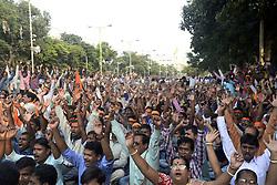November 12, 2016 - Kolkata, West Bengal, India - Hindu Jagran Manch organized a rally from College Street to Rani Rashmoni Avenue for protection of Fundamental rights of Hindu in West Bengal. In recent year place like Hazinagar, Halisahar, Chandannagar, Khargapur in West Bengal several Hindu injured in communal violence. (Credit Image: © Saikat Paul/Pacific Press via ZUMA Wire)