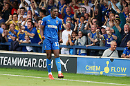 AFC Wimbledon attacker Michael Folivi (17) celebrating after goal during the EFL Sky Bet League 1 match between AFC Wimbledon and Accrington Stanley at the Cherry Red Records Stadium, Kingston, England on 17 August 2019.