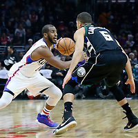 16 December 2015: Los Angeles Clippers guard Chris Paul (3) drives past Milwaukee Bucks guard Michael Carter-Williams (5) during the Los Angeles Clippers 103-90 victory over the Milwaukee Bucks, at the Staples Center, Los Angeles, California, USA.