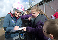 Blue Peter presenters have gone head-to-head on their personally modified bikes in a cycle race for Sport Relief 2014.  Lindsey Russell signs autographs for children from Ingol Community Primary School<br /> <br /> Photo by Chris Vaughan/CameraSport<br /> <br /> Commercial - Sport Relief -  publicity shoot - Tuesday 4th March 2014 - University of Central Lancashire Sports Arena - Preston<br /> <br /> © CameraSport - 43 Linden Ave. Countesthorpe. Leicester. England. LE8 5PG - Tel: +44 (0) 116 277 4147 - admin@camerasport.com - www.camerasport.com
